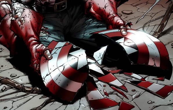 Picture fantasy, Marvel, comics, Captain America, hands, broken, artwork, superhero, shield