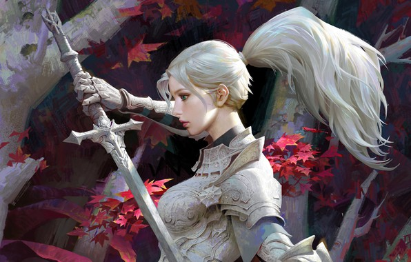 Picture leaves, girl, trees, weapons, sword, armor, fantasy, art, blonde, tail, profile