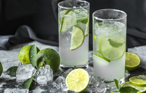 Picture ice, lime, glasses, drink, mint