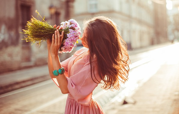 Picture girl, flowers, pose, street, hair, blouse