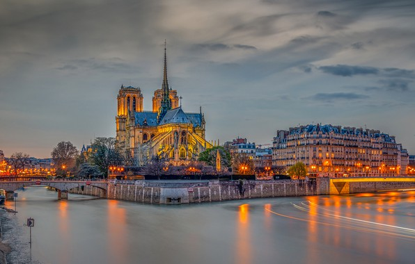 Picture the sky, clouds, trees, lights, river, France, Paris, HDR, home, the evening, lights, channel, bridges, …