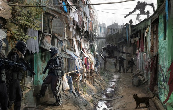 Picture city, fantasy, robot, road, armor, science fiction, cat, sci-fi, weapons, digital art, artwork, alley, fantasy …