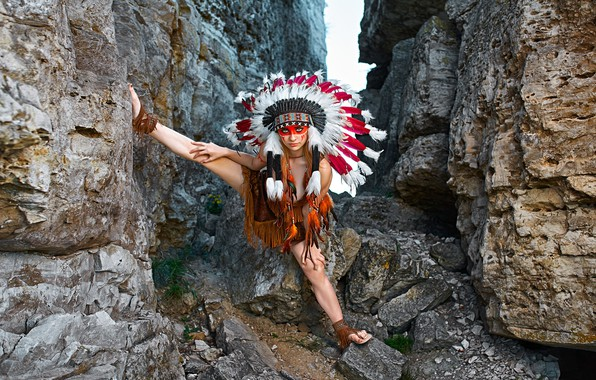 Picture look, girl, pose, rocks, feathers, paint, roach, Aliona Turcan, Vyacheslav Turcan