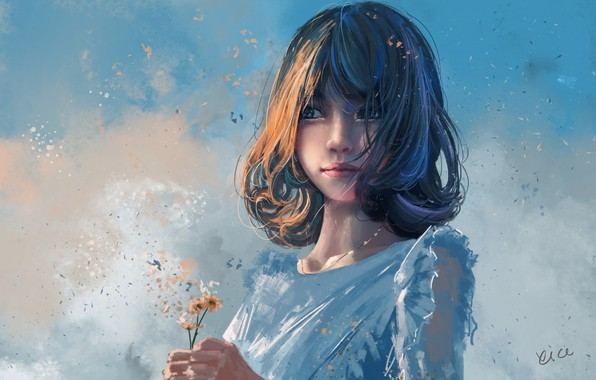 Picture haircut, petals, white dress, blue sky, bangs, in the hands, portrait of a girl, wild …