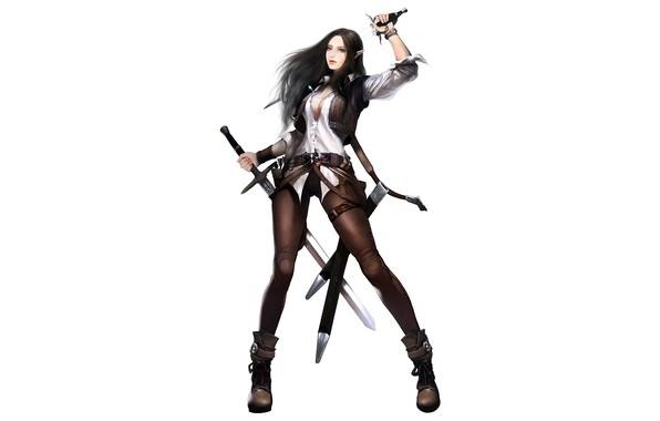 Picture Girl, Fantasy, Beautiful, Art, Minimalism, Sword, Swords, Dragon Raja, Eron Kim, Irulil