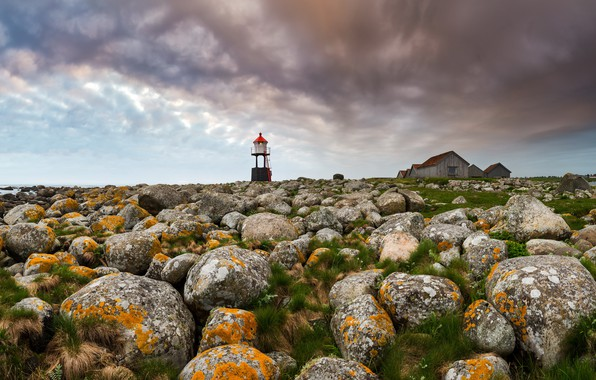 Picture stones, shore, lighthouse
