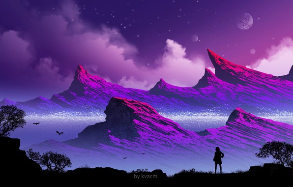 Picture girl, mountains, silhouette