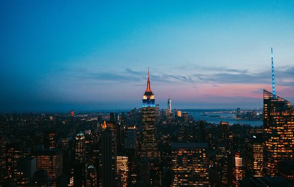 Picture city, lights, USA, twilight, sky, night, cloud, New York, Manhattan, NYC, New York City, city …