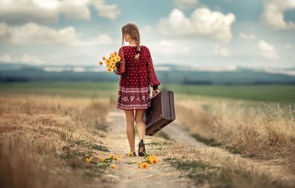 Picture road, girl, clouds, landscape, flowers, nature, field, bouquet, dress, braid, suitcase, Rus