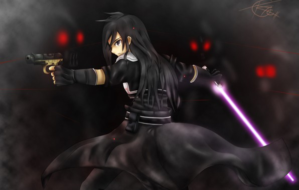 Picture gun, sword, red eyes, the fight, Kirito, black cloak, in the dark, red lines, Death …