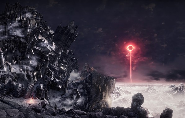 Picture mountains, ray, Eclipse, Dark Souls III, разрушение замка, меч битвы