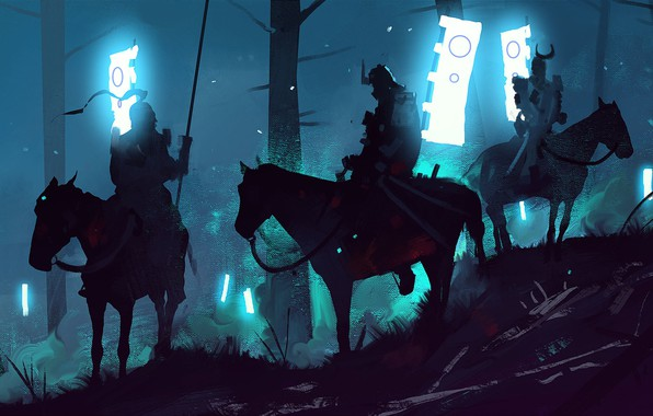 Picture Night, Forest, Samurai, Art, War, Concept Art, Characters, Samurai, Dominik Mayer, Environments, by Dominik Mayer, …