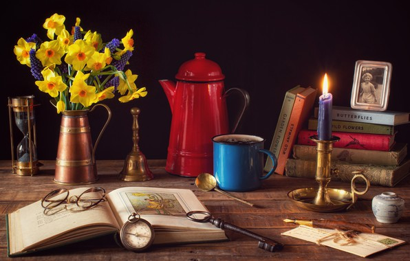 Picture flowers, style, photo, books, coffee, candle, bouquet, key, glasses, mug, still life, compass, hourglass, candle …