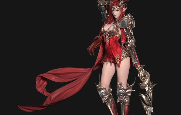 Picture girl, red, armor, art, cloak