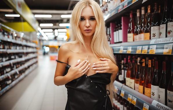 Picture look, girl, pose, hands, blonde, bottle, shop, Artem Soloviev, Arishka Mironov, ARTEM SOLOVЬEV