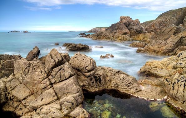 Picture sea, the sky, clouds, stones, rocks, coast, France, horizon, France, Cape, Brittany, Bretagne, the Peninsula, …