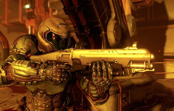 Picture Fire, Soldiers, Weapons, Gun, Armor, Bethesda Softworks, Bethesda, DooM, id Software, DooM 2016, doomguy
