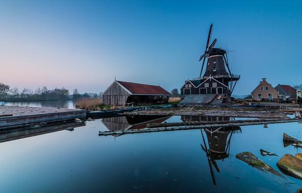 Picture overcast, morning, mill, Netherlands, Holland