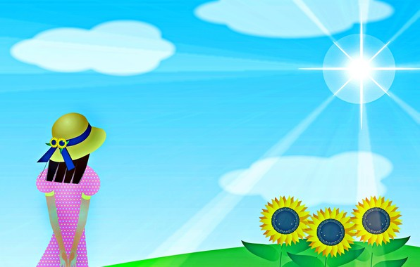 Picture summer, girl, the sun, sunflowers