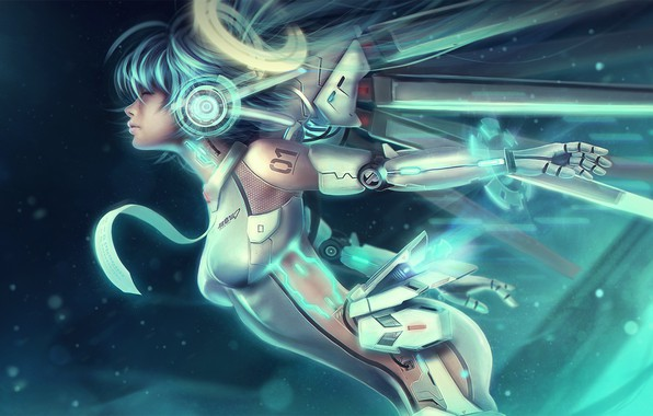 Picture Girl, Robot, Characters, Ascension, Miku Hatsune, Eddy Shinjuku, Cyber, Miku, Cyberpunk, Mecha, by Eddy Shinjuku, …