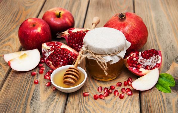 Picture apples, honey, grenades
