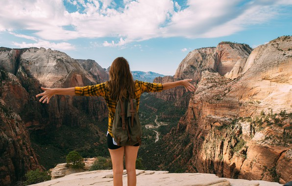 Picture mountains, Girl, backpack