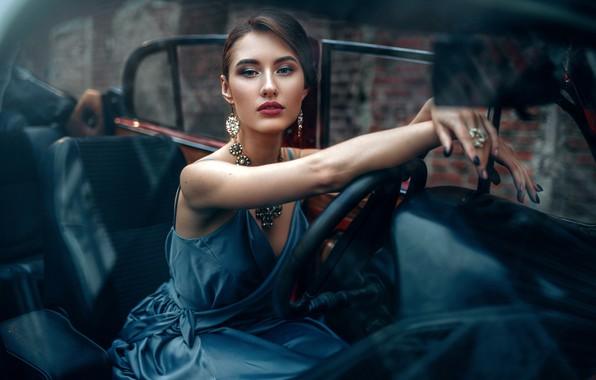Picture machine, auto, look, girl, decoration, pose, style, hands, makeup, dress, manicure, Maxim Kuzin, Maks Kuzin