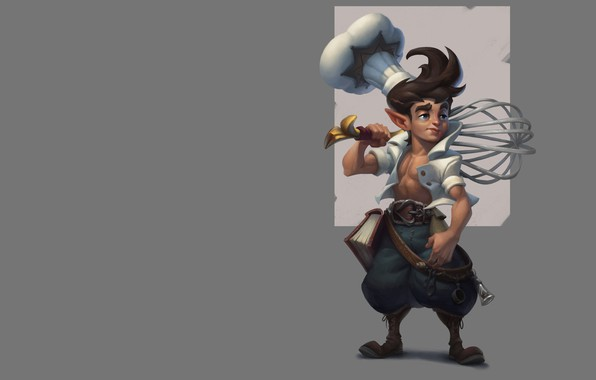 Picture elf, fantasy, art, cook, book, whisk, pastry chef, Servando Lupini, Bakery project main character concept