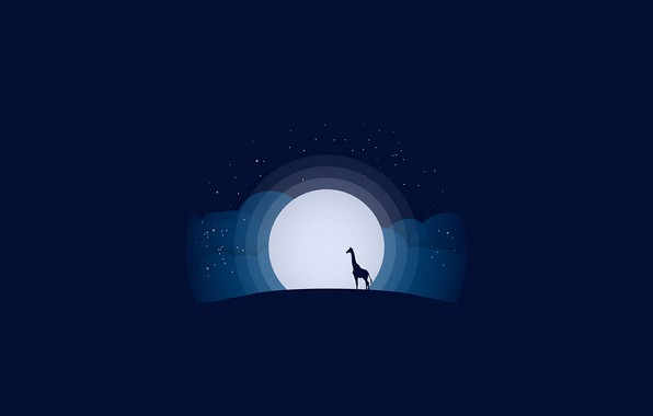 Picture moon, minimalism, stars, animal, blue background, digital art, artwork, silhouette, wild, simple background, Giraffe