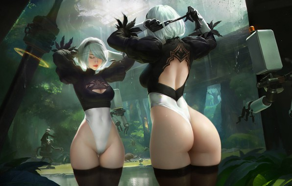Picture Girl, Ass, Figure, Sword, Android, Art, Nier, Figure, Illustration, Characters, Automata, Game Art, NieR, NieR: …