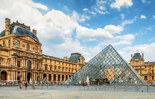 Picture design, people, France, Paris, The Louvre, area, pyramid, Paris, architecture, Palace, France, Louvre