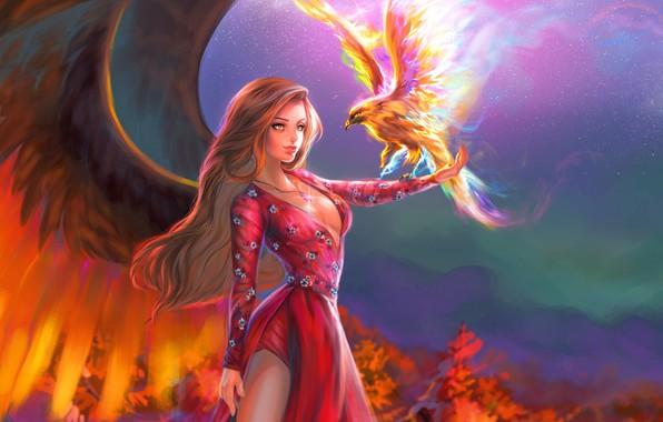 Picture look, girl, bird, wings, dress, fantasy, art
