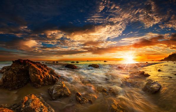 Picture sea, beach, the sky, the sun, clouds, rays, stones, dawn, coast, horizon, surf, USA, Malibu, ...