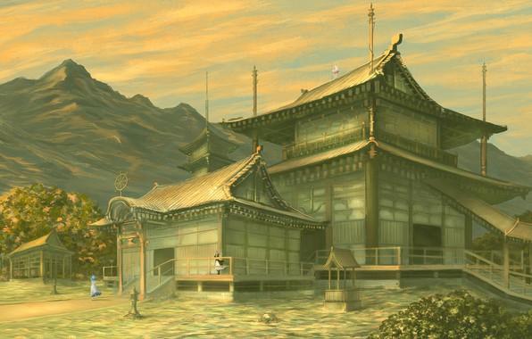 Picture mountains, Japan, lights, well, ladder, temple, pagoda, gazebo, art, three girls, Touhou Project, Toramaru Shou, …