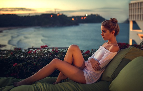 Picture girl, twilight, dress, legs, sea, brown hair, photo, sunset, photographer, flowers, barefoot, model, bokeh, lips, …
