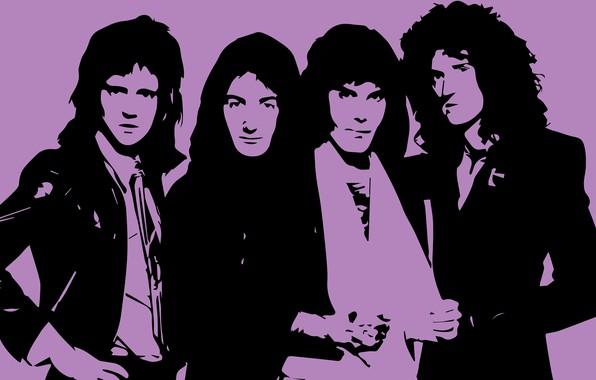 Picture Wallpaper, figure, Queen, Freddie Mercury, Brian May, Roger Taylor, John Deacon, engraving