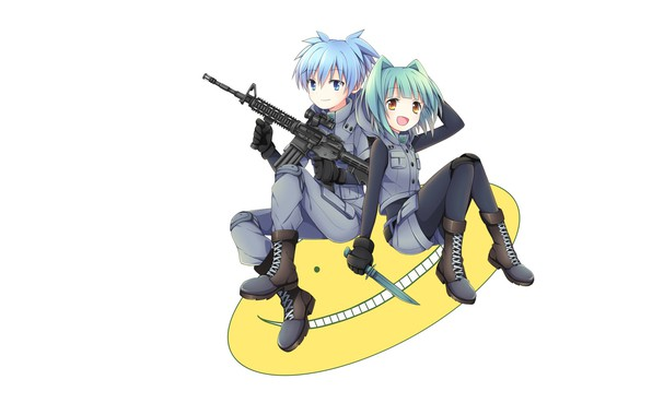 Picture smile, shoes, machine, white background, dagger, blue hair, art, military uniform, sitting, The class assassins, …