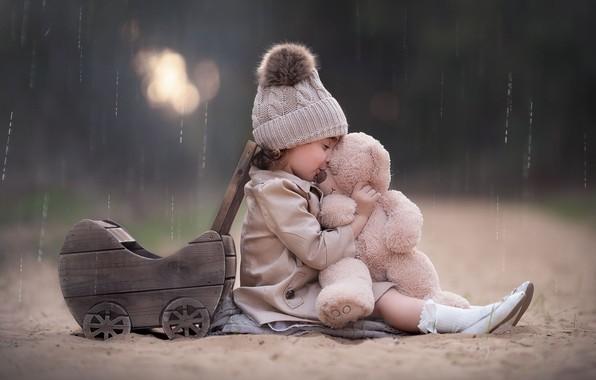 Picture rain, toy, girl, stroller, bear, cap, Teddy bear, Keren Genish