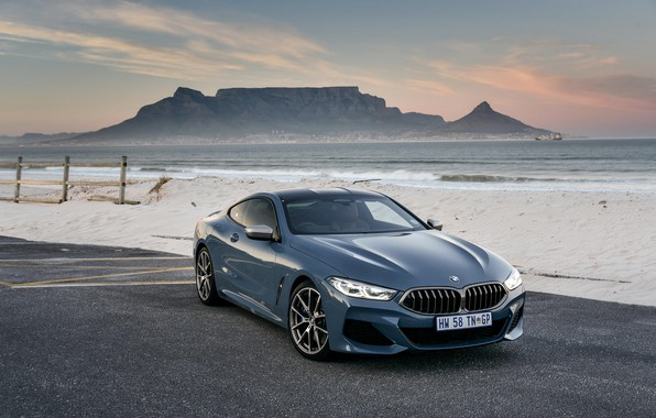 Picture sand, shore, coupe, BMW, 2018, 8-Series, 2019, pale blue, M850i xDrive, Eight, G15