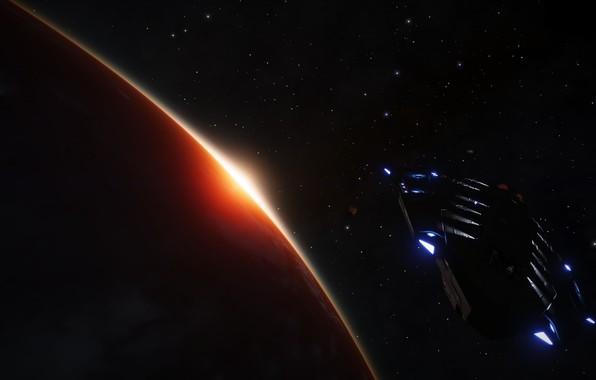 Picture Lights, Stars, Planet, Space, Ship, Elite Dangerous