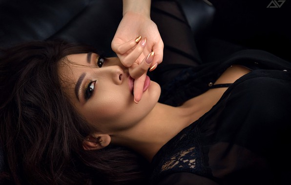 Picture look, pose, model, hand, portrait, makeup, brunette, hairstyle, finger, lips, lies, beauty, in black, manicure, …