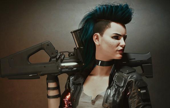 Picture girl, weapons, punk, warrior, Cyberpunk 2077