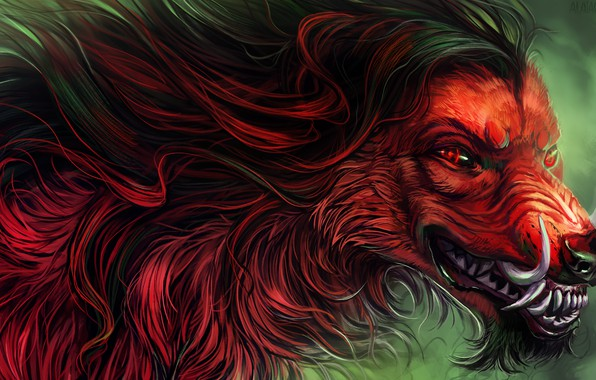Picture fear, wolf, predator, wool, mouth, fangs, werewolf, red eyes, evil eye, werewolf, mater, by Alaiaorax