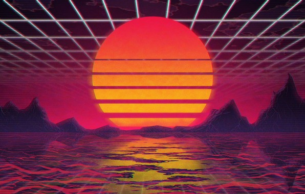 Picture The sun, Music, Star, Background, 80s, Neon, VHS, 80's, Synth, Retrowave, Synthwave, New Retro Wave, ...