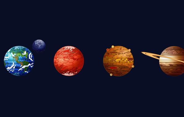 Picture space, Moon, Saturn, Earth, minimalism, planets, digital art, artwork, Mars, Neptune, Venus, Mercury, Uranus, Jupiter, …