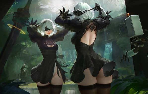 Picture Girl, Figure, Sword, Android, Art, Nier, Illustration, Characters, Automata, Game Art, NieR, NieR: Automata, Nier …