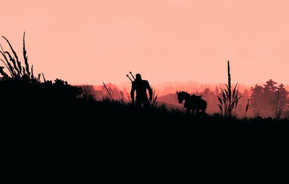 Picture fantasy, game, The Witcher, landscape, weapons, digital art, artwork, warrior, swords, fantasy art, RPG, knight, …