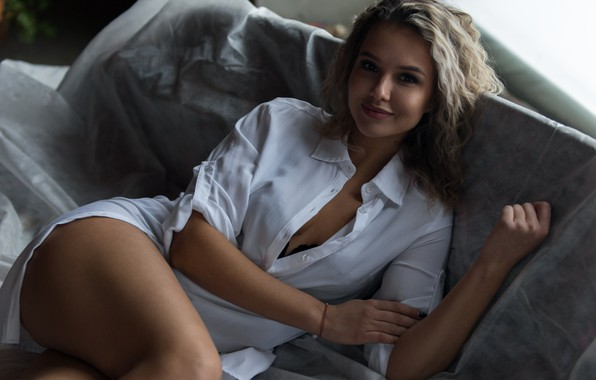 Picture pose, hair, Girl, curls, Alexey Burtsev, Natalia Beloborodova