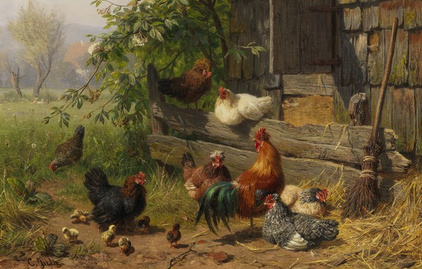 Picture The Poultry Yard, German painter, German painter, The Dusseldorf school of art, Düsseldorf school of …
