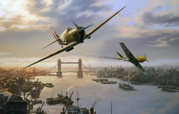 Picture Supermarine Spitfire, Nicolas Trudgian, BF-109, British fighter, London Pride, spitfire skirmish